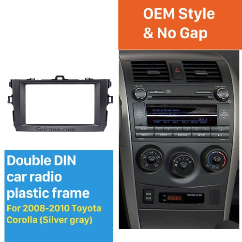 Grey 2Din 2008 2009 2010 Toyota Corolla Car Radio Fascia Trim Installation Stereo Dash CD Dashboard Panel Frame