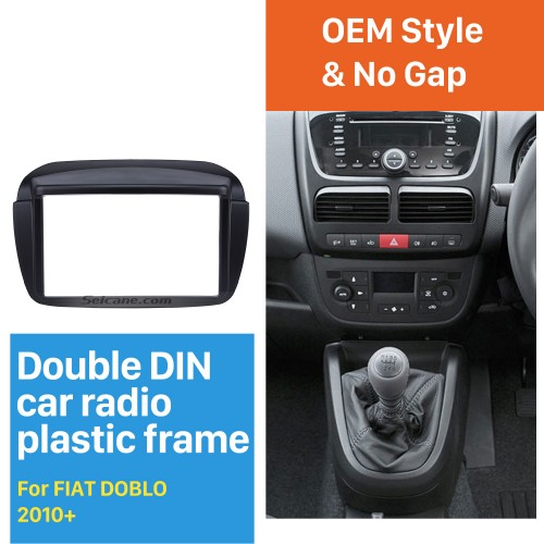 Black Double Din Car Radio Fascia for 2010+ FIAT DOBLO CD Trim Installation Frame Panel Audio Fitting Adaptor