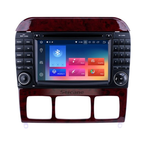7 inch Android 9.0 HD Touchscreen for 1998 1999 2000-2005 Mercedes Benz S Class W220/S280/S320/S320 CDI/S400 CDI/S350/S430/S500/S600/S55 AMG/S63 AMG/S65 AMG GPS Navigation System Radio with Bluetooth Carplay support DVR