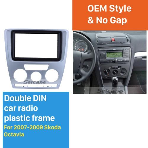 Silver 2Din Car Radio Fascia for 2007 2008 2009 Skoda Octavia Trim Surround CD Stereo Dash Decorative Frame