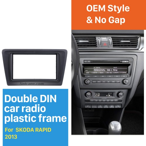 Black Double Din Car Radio Fascia for 2013 Skoda Rapid Dash Mount Frame Panel CD Trim Auto Stereo Interface