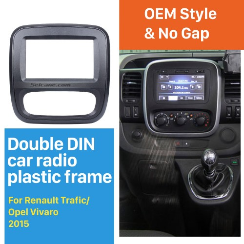 2 Din car radio Fascia for 2015 Up Renault Trafic Opel Vivaro DVD Panel Dash Kit auto stereo installation Frame Dashboard Panel