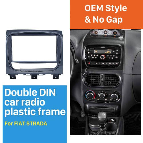 UV Grey Double Din Car Radio Fascia for FIAT STRADA DVD Panel Refitting Car Kit Audio Frame
