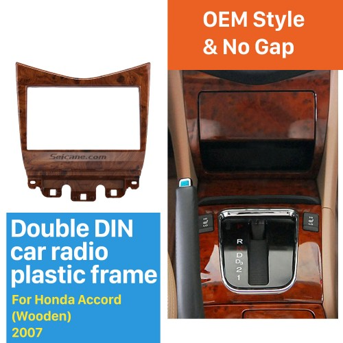 High Quality Wooden Color 2Din 2007 Honda Accord Car Radio Fascia DVD panel Dash Kit Trim Bezel Fitting Frame