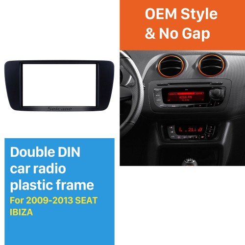 Top Quality Double Din Vehicle-mounted Radio Fascia for 2009-2013 SEAT IBIZA Dash DVD Player Face Plate Trim Panel Installation Frame Kit