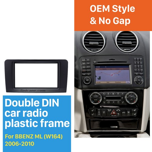 Black Double Din 2006-2010 Mercedes BENZ ML W164 Car Radio Fascia Trim Installation Autostereo Panel Kit Audio Frame