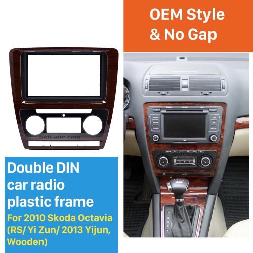 Wooden Color 2Din Car Radio Fascia for 2010 Skoda Octavia DVD Frame Face Plate Stereo Dash Fitting Adaptor