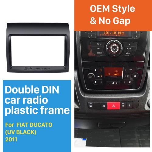 UV Black 2Din Car Radio Fascia for 2011 FIAT DUCATO Dash Mount Kit Adapter DVD Frame Panel