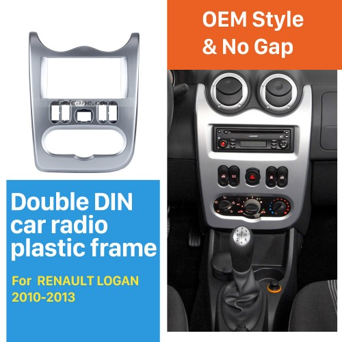 Hot sell 2 Din car radio Fascia for 2010 2011-2013 RENAULT LOGAN Audio Fitting Adaptor Dashboard Panel auto stereo installation Frame