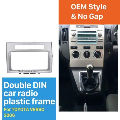 Silver Double Din 2006 Toyota Verso Car Radio Fascia Panel Adaptor Trim Installation Kit Audio Cover Frame