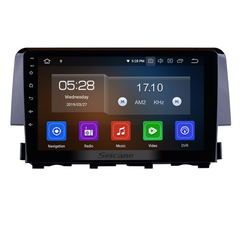 9 inch Android 9.0 2016 HONDA CIVIC HD Touchscreen Radio GPS Navigation Bluetooth WIFI USB Mirror Link Aux Rearview Camera OBDII TPMS 1080P video