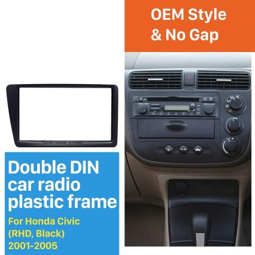 Excellent Black 2Din 2001-2005 Honda Civic RHD Car Radio Fascia Installation Trim Dash Kit DVD Frame Panel Adaptor