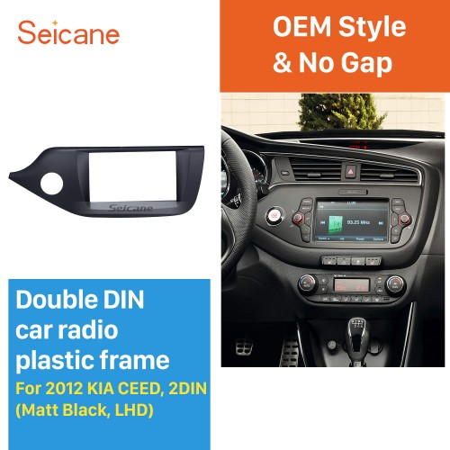Matt Black 2Din Car Radio Fascia for 2012 2013 2014 KIA CEED Left Hand Car DVD Stereo Player Frame Panel Trim Bezel