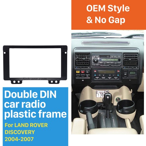 Black Double Din Car Radio Fascia for 2004 2005 2006 2007 Land Rover Discovery Dash CD Stereo Install Audio Frame Panel