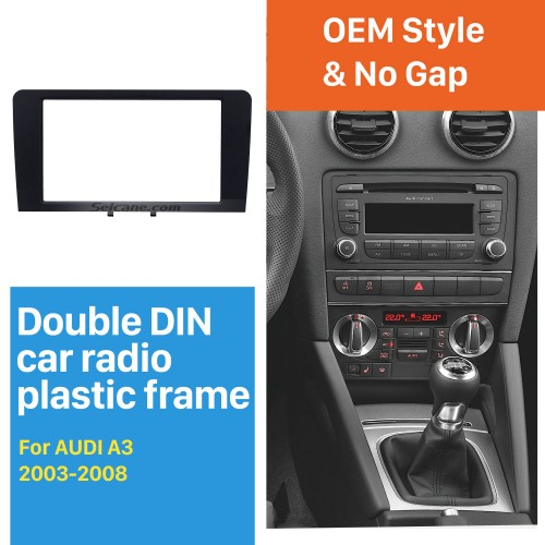 Black Double Din 2003-2008 Audi A3 Car Radio Fascia Autostereo Panel Kit Audio Frame Trim Installation
