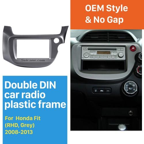 Professional Gray Double Din 2008-2013 Honda Fit RHD Car Radio Fascia Trim Bezel DVD Frame Dash Kit