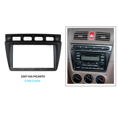Black Double Din 2004 2005 2006 2007 2008 KIA PICANTO Car Radio Fascia Autostereo Adapter CD Trim Installation Panel Frame