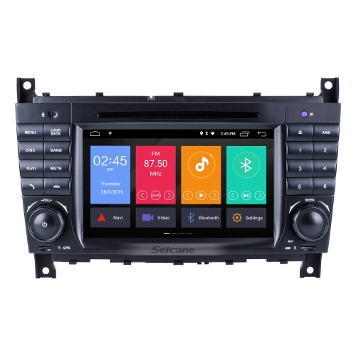 Android 9.0 In Dash Car DVD GPS System for 2004-2007 Mercedes Benz C Class W203 C180 C200 C220 C230 with 3G WiFi AM FM Radio Bluetooth Mirror Link OBD2 AUX DVR