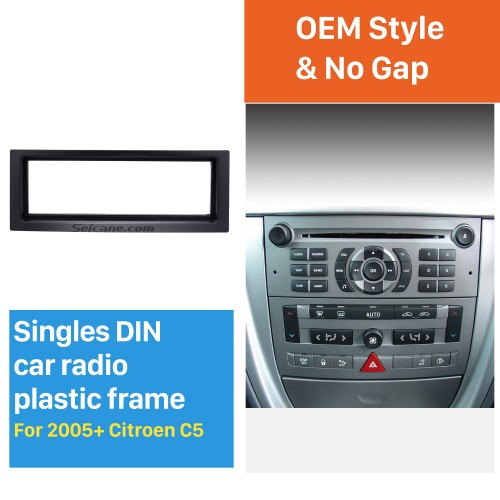 Black 1Din 2005+ Citroen C5 Car Radio Fascia Stereo Frame Panel Dash Mount Fitting Kit Installation