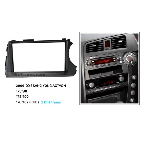 Classic RHD 2 Din Car Radio Fascia for 2006 2007 2008 2009 SSANG YONG ACTYON CD Trim Panel Auto Stereo Frame Dash Mount Kit Adaptor