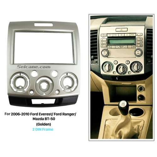 Golden 2 Din Car Radio Fascia for 2006-2010 Ford Everest Ford Ranger Mazda BT-50 Audio Cover Dash Kit DVD Frame Panel