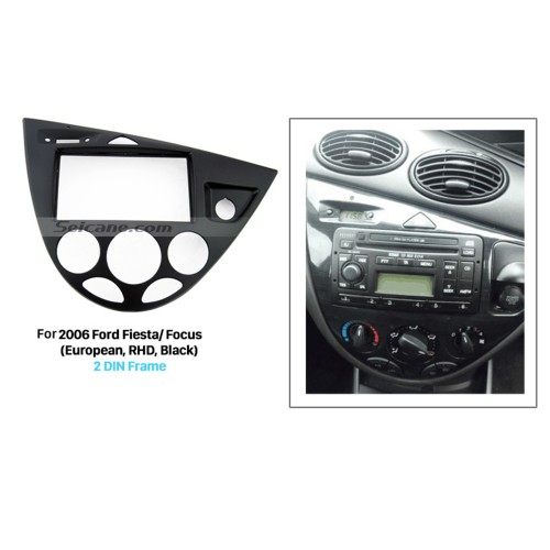 Black Double Din Car Radio Fascia for 2006 Ford Fiesta Focus European Right Hand Car Dash Kit Car Styling Panel Frame