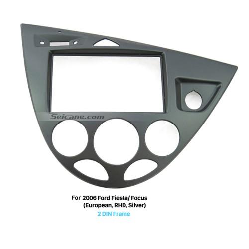 Silver 2 Din Car Radio Fascia for 2006 Ford Fiesta Focus European Right Hand Car Dash Mount Kit Stereo Install Frame DVD Panel