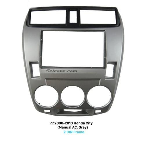 Fancy Gray 2Din 2008 2009 2010 2011-2013 Honda City Manual AC Car Radio Fascia Trim Install Frame Car Styling Auto Stereo