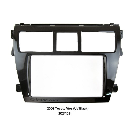 UV Black 202*102mm 2Din 2008 Toyota Vios Car Radio Fascia Dash Kit DVD Frame Face Plate