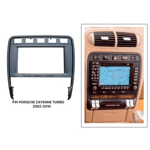 Black 2Din Car Radio Fascia for 2009 PORSCHE CAYENNE TURBO Stereo Kit Dash CD DVD GPS Decorative Frame
