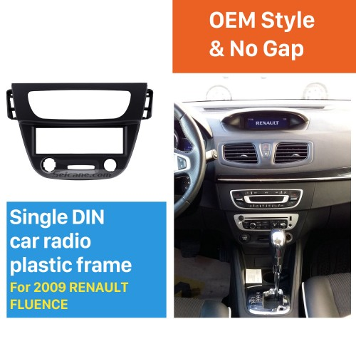 Newest Black 1 Din car radio Fascia for 2009 RENAULT FLUENCE Auto Stereo Interface Panel Frame Dash Mount Kit Adaptor Trim Bezel