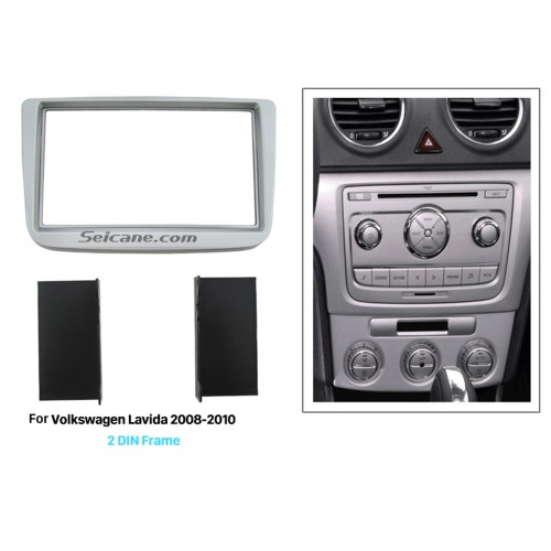 Silver Double Din 2008 2009 2010 Volkswagen Lavida Car Radio Fascia Stereo Plate Dash CD Trim Panel Fitting Kit Installation frame