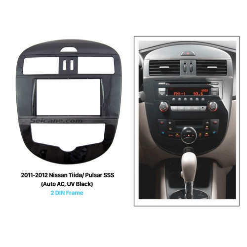 UV Black 2Din 2011 2012 Nissan Tiida Pulsar SSS with Auto AC Car Radio Fascia CD Trim Autostereo Adapter Audio Frame