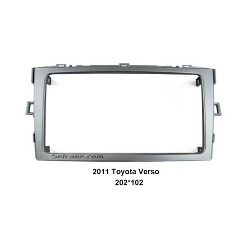 Silver Double Din 2011 Toyota Verso Car Radio Fascia Audio frame Fitting Kit installation CD Trim