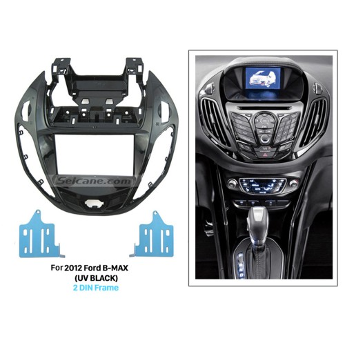 UV Black Double Din Car Radio Fascia for 2012 Ford B-MAX Panel Frame In Dash Mount Kit Autostereo