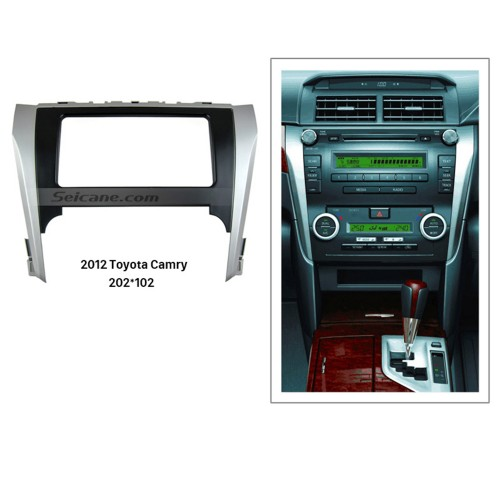 Black Silver Double Din 2012 Toyota Camry Car Radio Fascia Autostereo Panel kit Face Plate Dash Frame