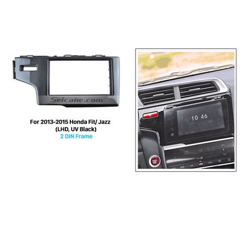 UV Black Double Din 2013 2014 2015 Honda Fit Jazz LHD Car Radio Fascia Dash Mount CD Trim Panel Audio Fitting Frame Adaptor