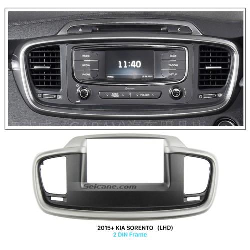 Black 2Din Car Radio Fascia for 2015+ KIA SORENTO Left Hand Car Stereo Dash CD DVD Frame Dashboard Pane