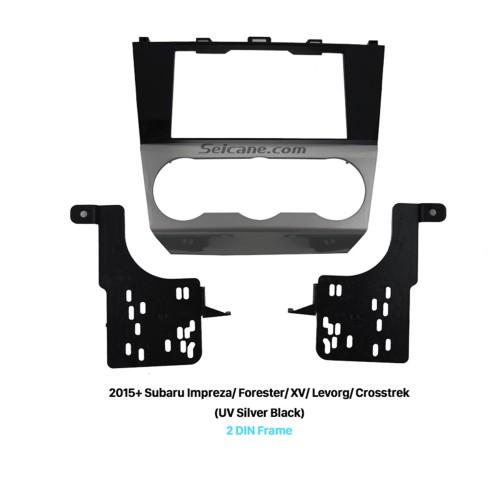 UV Silver Black 2Din Car Radio Fascia for 2015+ Subaru Impreza Forester XV Levorg Crosstrek CD Trim DVD Stereo Panel Frame