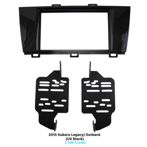 UV Black Double Din Car Radio Fascia for 2015 Subaru Legacy Outback Dash Mount Audio Player Panel Face Plate CD Trim Frame