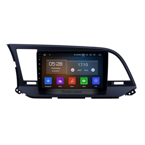 9 inch aftermarket Android 10.0 HD Touchscreen Head Unit GPS Navigation System For 2016 Hyundai  Elantra LHD with USB Support OBD II DVR  3G/4G WIFI Rearview Camera
