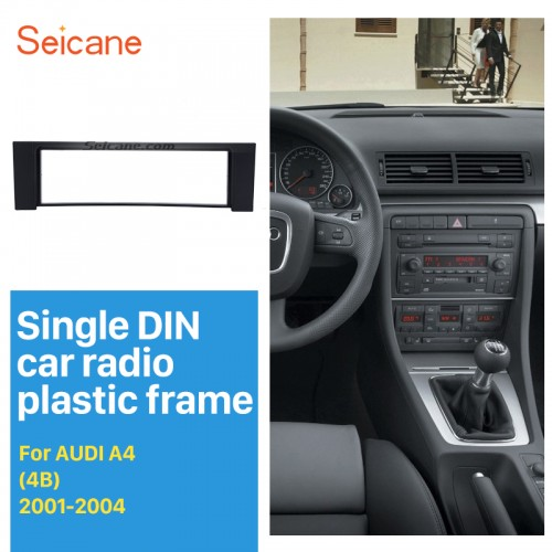 Black 1Din 2001 2002 2003 2004 Audi A4 4B Car Radio Fascia Face Plate Panel DVD Frame Stereo Dash Kit