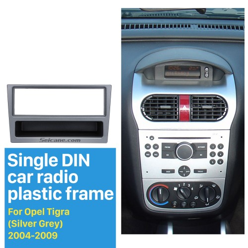 Silver Grey 1Din Frame Car Radio Fascia for OPEL Agila Astra (G) Meriva Signum Tigra Dashboard Panel DVD Player Stereo Install