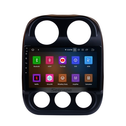 10.1 inch Android 10.0 1024*600 Touch Screen 2014 2015 Jeep Compass Radio Bluetooth GPS Navigation System with OBD2 DVR 4G WIFI Steering Wheel Control Backup Camera Mirror Link