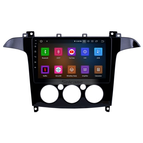 HD Touchscreen 2007-2008 Ford S-Max Manual A/C Android 10.0 9 inch GPS Navigation Radio Bluetooth WIFI Carplay support OBD2