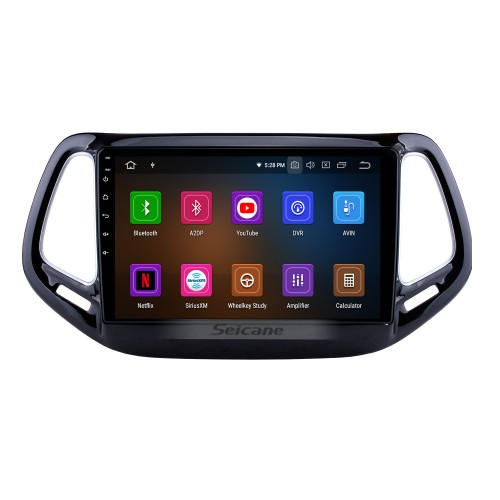 10.1 inch Android 10.0 HD 1024*600 Touchscreen Car Stereo For Jeep Compass 2017 Bluetooth Music Radio GPS Navigation Audio System Support Mirror Link 4G WiFi Backup Camera DVR Steering Wheel Control