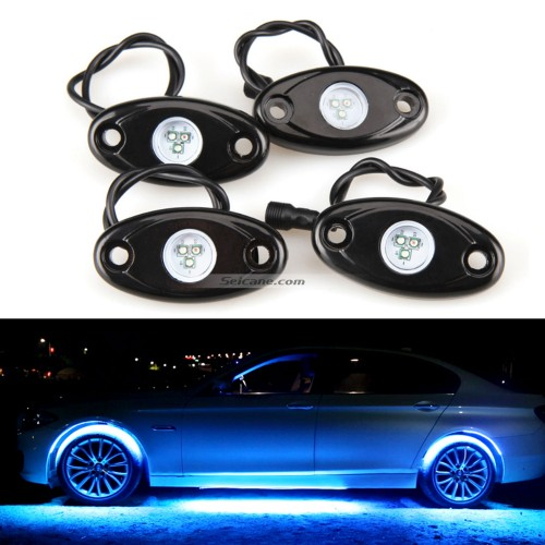 Car Chassis Bluetooth Control 4 Pods RGB LED Rock Lights for Universal Under Car with Waterproof and Anti-Corrosion