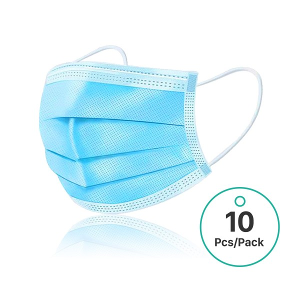Disposable Face Masks for Adults Medical Mouth Mask Protective for pet allergens Hospitals and Other Dusty environments That Require Respiratory Protection 10 Pcs/Pack