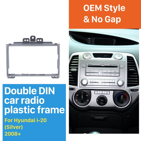 Beautiful Silver 2Din 2008+ Hyundai i-20 Car Radio Fascia Stereo Install CD Trim Fitting Frame Adapter