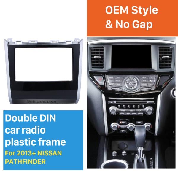 Double Din Car Radio Frame Plastic Fascia Dash Panel for 2013+ NISSAN PATHFINDER Install Dash Bezel Cover Trim Kit No gap